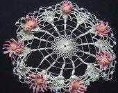 Vintage Pink Flower Doily - 16 inch diameter