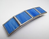 Cool Blue - Large Stained Glass French Barrettes
