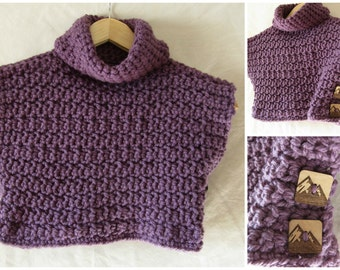Pullover Vest for Girl or Boy with Buttons, Custom Order, Spring Wear, Fall, bulky, color options, Crocheted