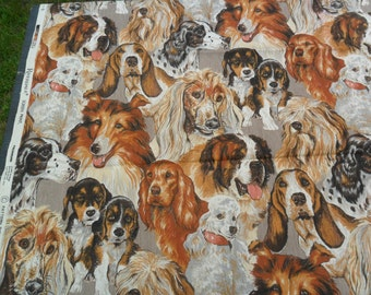 """Vintage ALL DOGS Cotton Twill Fabric 61"""" in length x 45"""" width -ADORABLE"""