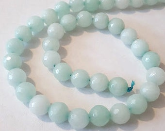 Full Strand 10mm Faceted Natural Amazonite Light Aquamarine round gemstone