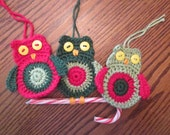 Crochet Owl Christmas Tree Ornament, Decoration, Applique
