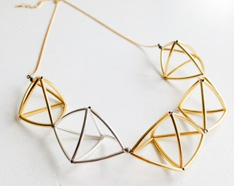 GEOMETRIC metallic - gold and silver plated metal beaded necklace