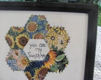 English Paper Piecing, Primitive Stitchery 'You are my Sunshine'