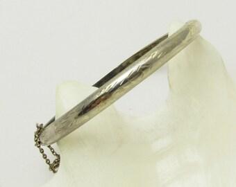 Hinged Sterling Bangle Slim Bracelet Vintage Jewelry B7240