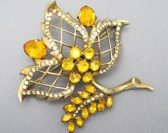 Large Eisenberg Sterling Brooch Golden Yellow Rhinestone Jewelry P6900