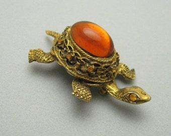 Vintage Turtle Brooch Costume Jewelry P6966