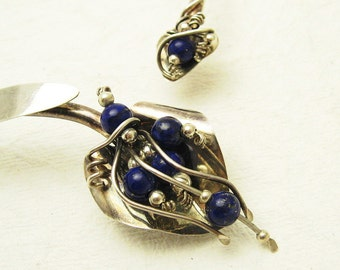 Sterling Lapis Collar Necklace Vintage Artisan Jewelry Ladda Bihler N6975