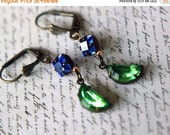 Crystal Moon Earrings  Sapphire Blue, Peridot Green Dangles  Summer Night  Spring Wedding  Sky, Stars, Celestial  Gift Box