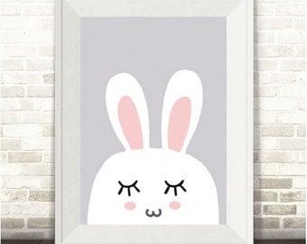 Bunny Print, Sleeping Bunny Print, Bunny Nursery Print, Bunny Rabbit Print