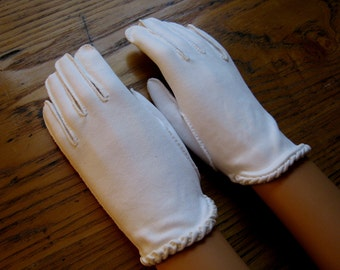 Vintage White Gloves, Bridal Gloves, Vintage Gloves, White Dress Gloves, Crescendo, Cotton, Dress Gloves, Wedding Gloves, Vintage Fashion