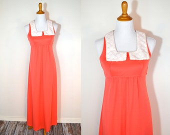 20 DOLLAR SUPER SALE! Coral Pink Maxi Dress - 70s Dress - Coral Bridesmaid Dress - Coral Pink Dress