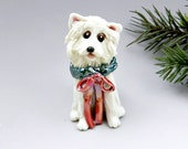 American Eskimo Dog Christmas Ornament Figurine Wreath Porcelain