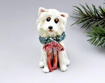American Eskimo Dog Christmas Ornament Figurine Wreath Porcelain