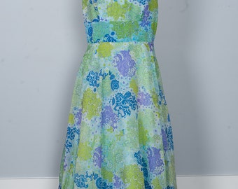 Vintage Gown - Bridesmaid Prom 60s Mod Floral Ruffle