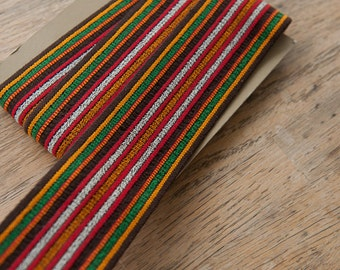 1.5 yards Geometric Belting- Vintage Trim Juvenile 70s 80s New Old Stock Fun Striped Stretchy