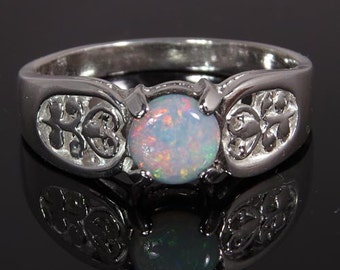 Natural Opal Handset in .925 Sterling Ring  -  Fast Free Shipping.