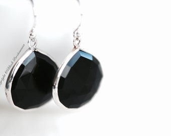 Karma Earrings - Black Onyx Sterling Silver 20x20mm Double-Sided Faceted Teardrops - Genuine Auspicious Feng Shui Protective Symbol Gemstone
