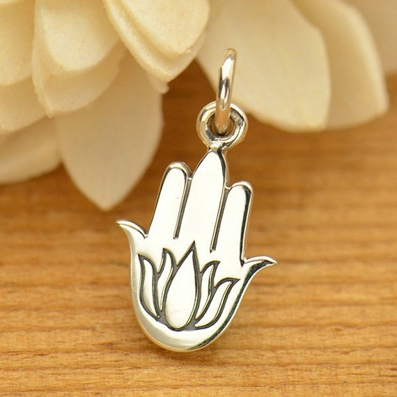 Hamsa Hand With Etched Lotus Necklace Solid 925 Sterling