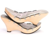 Size 9 - Gently Worn Runway Sample Sale -  High Heel Maple Ribbon Sandal with Vegan Leather Footbed
