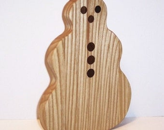 Snowman Cheese Cutting Board Handcrafted from Ash Hardwood