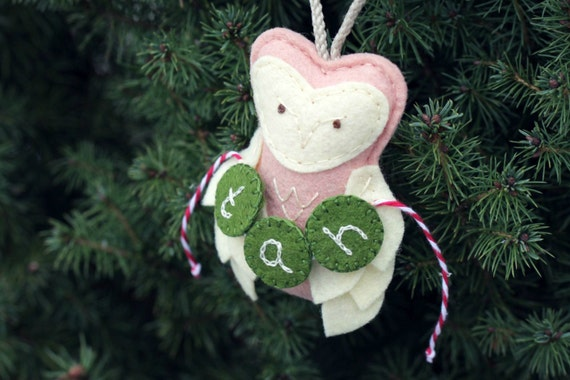 Personalized Owl Ornament Felt. Plush First Christmas Ornament Keepsake. Baby Girl Monogram. Blush Pink Christmas.