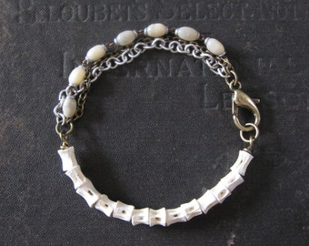 Fish Vertebrae and Chain Tangle Bracelet - Osteology - Mother Of Pearl