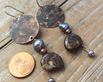 Boho rustic post apocalyptic copper ammonite fossil long dangle earrings
