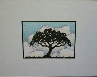 Ink drawing of tree with clouds