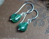Emerald Aventurine Earrings Green Gemstone Earrings Sterling Silver Rustic Jewelry