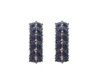 Bogoff Sapphire Earrings, Vintage Designer Rhinestone Clip Ons, 1940s Fine Bridal Jewelry, Vintage Jewellery