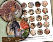Wild Horses Collage Sheet Digital Collage Sheet 1.5 inch size Printable Circle Images for Glass Resin Pendants Bezel Settings Magnets
