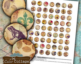 Vintage Eclectic Mix, Digital Collage Sheet, 20mm Circles, Digital Images, for Earrings, Resin Pendants, Calico Collage, Printable Images