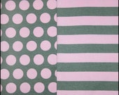 Knit cotton spandex by the yard grey with pink dots and stripes American made