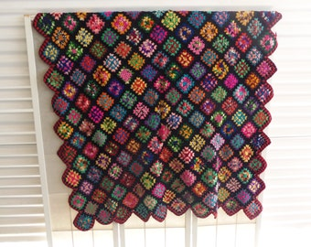 Vintage Stainglass Crocheted Handmade afghan
