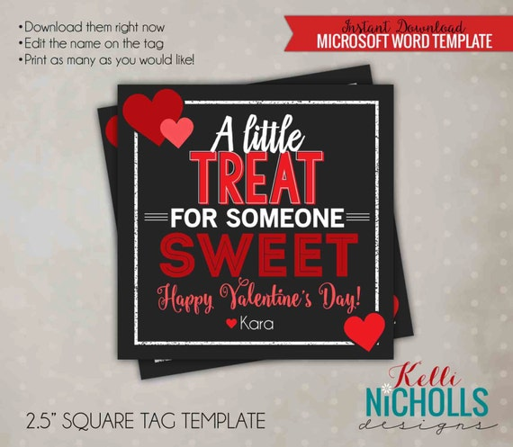 DIY Sweet Valentine's Day Gift Tag, Wife Candy or Chocolate Treat Bag, Red Hearts, Digital Template - Instant Download