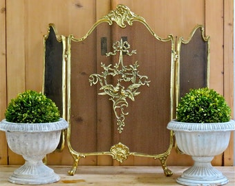 Vintage French Shabby Chic Lovely........Cast Brass Louis XV Fireplace Screen