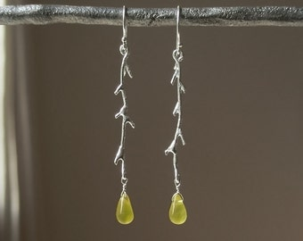 Long Fine Silver Branch Drop Earrings - Chartreuse Quartz Teardrop - Nature Inspired - Twig  - Sterling - Organic  - Rustic – One of a Kind