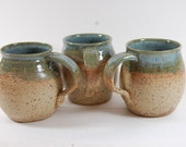 Pottery Mug , Perfect For The Beach, Serving, Handmade, Beach Sand And Blue Green Glazes