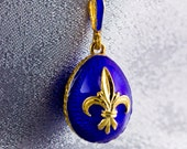 Jewelry Necklace/ Egg Pendant/ Fleur-de-Lis Pendant /Guilloche Royal Blue Enamel/ Sterling Silver /24 K Gold Plating/Unique Gift for Her