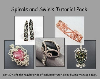 Summer Sale - 10% off - Spirals and Swirls Tutorial Pack - Wire Jewelry Tutorials - Save 30 Percent