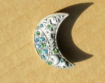 Crescent Moon Brooch Pin Vintage Rhinestone Jewelry Pewter Green Blue Creationarts