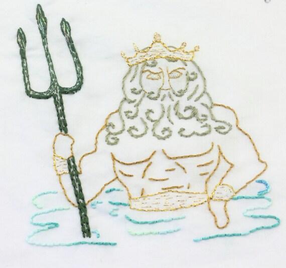 Mermaid Embroidery Pattern Sea Myth Ocean Hand Embroidery Design