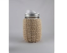 Buff Hand Knit Mason or Ball Jar Cozy Coaster
