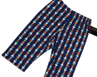 Triangle Print- Navy Pants - Flannel Pants - Baby Boy Pants - Baby Girl Pants - Baby Pants - Orange Pants - Sizes Nb - 3m - 6m - 12m - 18m