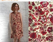 Valentine SALE vintage 60s shift dress / cotton sleeveless dress red floral print / mod dress