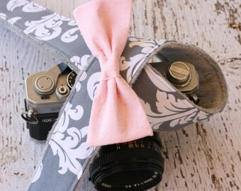 Cute Camera Strap.  Damask Camera Strap with Bow.  dSLR Camera Strap.  Camera Strap.  Gift for Her.