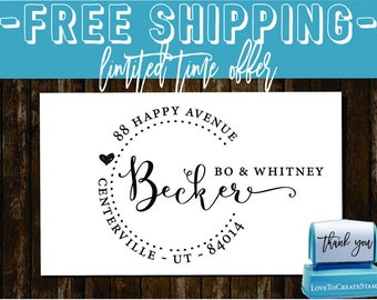 Custom  Return Address Stamp  - SELF INKING  - style 1162d-  personalized wedding or christmas gift