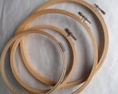 Hoops Embroidery CrossStitch Crewel Needle Point Round Wood Vintage