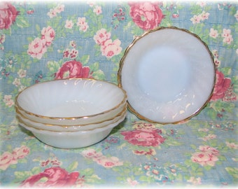"4 Fire-King Anchor Hocking Bowls Suburbia Scalloped Milk Glass Swirl Gold Rim Dessert Bowls 5"""